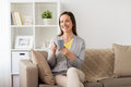 Happy Woman Drinking Tea Or Coffee At Home Stock Photo - 96407020