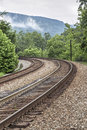 Double Railroad Tracks Curve Royalty Free Stock Images - 96413709