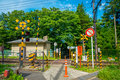 HAKONE, JAPAN - JULY 02, 2017: Beware Signs Before The Railway Of Hakone Tozan Cable Train Line At Gora Station In Royalty Free Stock Images - 96417399