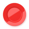 Empty Red Ceramic Round Plate Isolated On White Stock Photo - 96422390