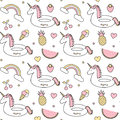 Cute Colorful Seamless Vector Pattern Background Illustration With Float Unicorn, Rainbow, Ice Cream, Pineapple, Cherry, Strawberr Royalty Free Stock Photo - 96423755