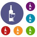 Wine Bottle And Glass Icons Set Stock Photography - 96431832