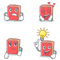 Set Of Red Book Character With Angry Love Waiting Idea Stock Photos - 96439493