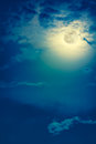 Nighttime Sky With Clouds And Bright Full Moon With Shiny. Royalty Free Stock Photo - 96441265