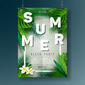 Vector Summer Beach Party Flyer Illustration With Typographic Design On Nature Background With Palm Leaves. Royalty Free Stock Image - 96446046