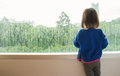 Little Girl  Looking Out Of The Window Stock Photography - 96446622