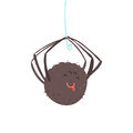Cute Cartoon Hanging Spider Character Vector Illustration Royalty Free Stock Photo - 96453915