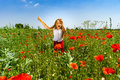 Cute Little Girl Playing In Red Poppies Field Summer Day, Beauty Royalty Free Stock Photos - 96455778