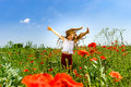 Cute Little Girl Playing In Red Poppies Field Summer Day, Beauty Stock Photo - 96455830