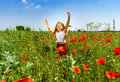Cute Little Girl Playing In Red Poppies Field Summer Day, Beauty Royalty Free Stock Photos - 96455858