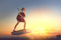 Child Flying On The Book Royalty Free Stock Image - 96456286