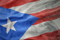 Colorful Waving National Flag Of Puerto Rico On A American Dollar Money Background. Stock Photography - 96465532
