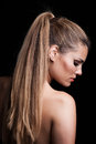 Young Blonde Woman With Long Hair In Ponytail Profile Stock Photo - 96477420