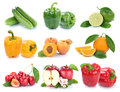 Fruits And Vegetables Collection  Apple Orange Bell Pepp Stock Images - 96479054