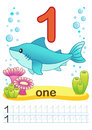 Printable Worksheet For Kindergarten And Preschool. We Train To Write Numbers. Mathe Exercises. Bright Figures On A Marine Backgro Royalty Free Stock Photos - 96504978