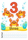 Printable Worksheet For Kindergarten And Preschool. We Train To Write Numbers. Mathe Exercises. Bright Figures On A Marine Backgro Stock Photography - 96505022