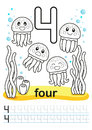 Coloring Printable Worksheet For Kindergarten And Preschool. We Train To Write Numbers. Math Exercises. Bright Figures On A Marine Stock Photo - 96505130