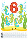 Printable Worksheet For Kindergarten And Preschool. We Train To Write Numbers. Mathe Exercises. Bright Figures On A Marine Backgro Royalty Free Stock Photo - 96505165