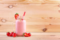 A Strawberry Cocktail With A Straw In A Mason Jar. A Cocktail And Fresh Berries On A Wooden Background. Healthy Organic Snacks. Royalty Free Stock Photos - 96508828