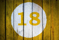 House Number Or Calendar Date In White Circle On Yellow Toned Stock Photos - 96515553