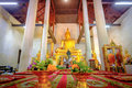 Golden Buddha Statue In The Old Church Wat Samanakotaram In Ayut Royalty Free Stock Photo - 96527035