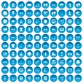 100 Sport Icons Set Blue Royalty Free Stock Image - 96550916