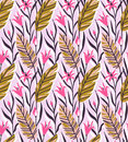 Vector Seamless Pattern With Bright Tropical Flowers And Palm Leaf. Royalty Free Stock Photos - 96561318