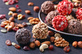 Homemade Candy With Chocolate , Nuts And Dried Strawberry Royalty Free Stock Photo - 96566205