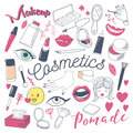 Makeup And Cosmetics Beauty Freehand Doodle. Hand Drawn Woman Fashion Elements Set Stock Photography - 96595412