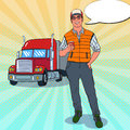 Pop Art Happy Trucker Standing In Front Of A Truck. Professional Driver Royalty Free Stock Image - 96595576