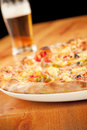 Pizza With Beer Royalty Free Stock Images - 9662629