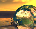 Airliner With A Globe Stock Photos - 9665143