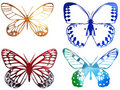 Bright Metal Butterfly Isolated On White Stock Photos - 9665213