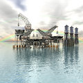 Drilling Platform In Sea With Clouds Royalty Free Stock Image - 9665336