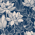 Seamless Vector Floral Lotus Hand Drawn Pattern Royalty Free Stock Photo - 96605355