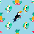 Seamless Tropical Pattern With Parrots, Pineapples And Toucan Stock Images - 96611904
