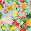 Seamless Tropical Fruits And Flamingo Pattern Royalty Free Stock Photo - 96612815