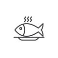 Fish Food Line Icon, Outline Vector Sign Royalty Free Stock Images - 96617819