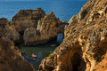 Boats In The Small Bay Between The Sandstone Cliffs At The Ponta Da Piedade In Lagos, Portugal Stock Photos - 96625513