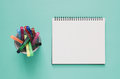 Office Workplace Minimal Concept. Blank Notebook And Color Pen B Royalty Free Stock Photo - 96628245