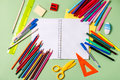 Back To School Concept. School Supplies On A Pastel Background Royalty Free Stock Photos - 96629408