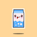 Cute Milk Box Icon Kawaii Container With Smiley Face Royalty Free Stock Images - 96633089