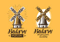 Bakery, Bakehouse Logo Or Icon. Bread, Mill, Windmill Label. Lettering Vector Illustration Royalty Free Stock Photos - 96642258