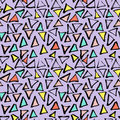 Abstract Geometric Seamless Hand Drawn Pattern. Modern Free Hand Texture. Colorful Geometric Doodle Background. Stock Photo - 96646640