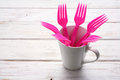 Plastic Forks And Cup Royalty Free Stock Photos - 96654198