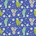 Cactus Desert Vector Seamless Pattern. Green And Grey Nature Fabric Print Texture. Royalty Free Stock Photo - 96662805