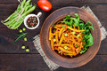 Salad From Green Beans, Stewed With Onions In Tomato Sauce And Green Leaves Of Arugula Royalty Free Stock Photo - 96666575