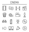 Set Of Cinema Icons In Modern Thin Line Style. Royalty Free Stock Photos - 96669038