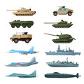 Naval Vehicles, Airplanes And Different Warships. Illustrations Of Artillery, Battle Tanks And Submarine Royalty Free Stock Photo - 96681485