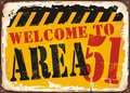 Welcome To Area 51 Retro Road Sign Royalty Free Stock Images - 96681779